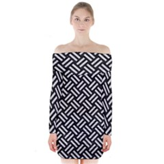 Woven2 Black Marble & White Leather (r) Long Sleeve Off Shoulder Dress