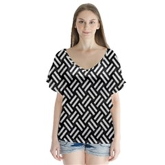 Woven2 Black Marble & White Leather (r) V Neck Flutter Sleeve Top