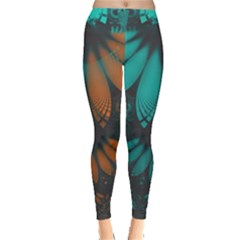 Beautiful Teal And Orange Paisley Fractal Feathers Leggings