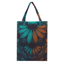 Beautiful Teal And Orange Paisley Fractal Feathers Classic Tote Bag