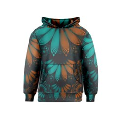Beautiful Teal And Orange Paisley Fractal Feathers Kids  Pullover Hoodie