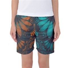 Beautiful Teal And Orange Paisley Fractal Feathers Women s Basketball Shorts