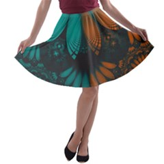 Beautiful Teal And Orange Paisley Fractal Feathers A Line Skater Skirt