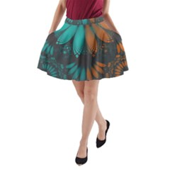 Beautiful Teal And Orange Paisley Fractal Feathers A Line Pocket Skirt