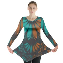 Beautiful Teal And Orange Paisley Fractal Feathers Long Sleeve Tunic