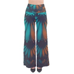 Beautiful Teal And Orange Paisley Fractal Feathers Pants