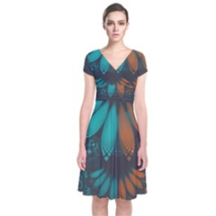 Beautiful Teal And Orange Paisley Fractal Feathers Short Sleeve Front Wrap Dress