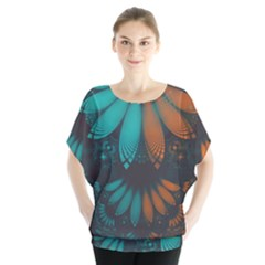 Beautiful Teal And Orange Paisley Fractal Feathers Blouse