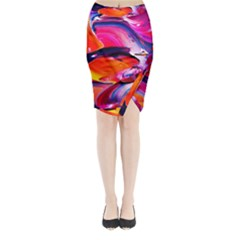 Abstract Acryl Art Midi Wrap Pencil Skirt