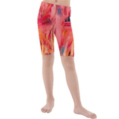 Abstract Acryl Art Kids  Mid Length Swim Shorts