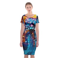 Abstract Acryl Art Classic Short Sleeve Midi Dress