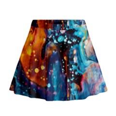 Abstract Acryl Art Mini Flare Skirt