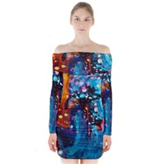 Abstract Acryl Art Long Sleeve Off Shoulder Dress
