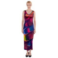 Abstract Acryl Art Fitted Maxi Dress
