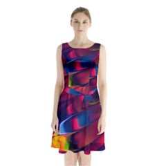 Abstract Acryl Art Sleeveless Waist Tie Chiffon Dress