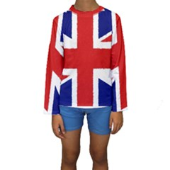 Union Jack Pencil Art Kids  Long Sleeve Swimwear