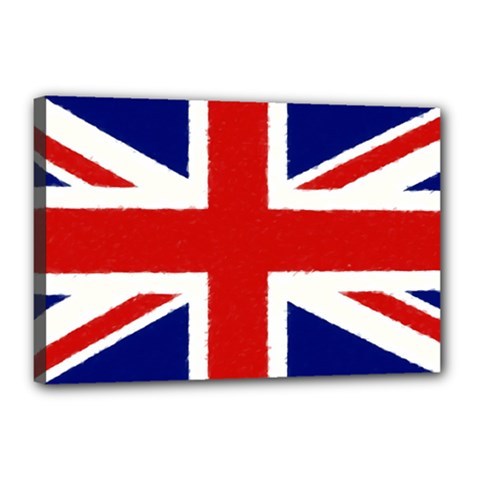 Union Jack Watercolor Drawing Art Canvas 18  X 12