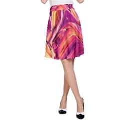 Abstract Acryl Art A Line Skirt
