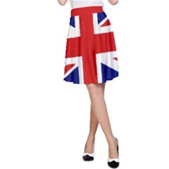 Union Jack Watercolor Drawing Art A Line Skirt