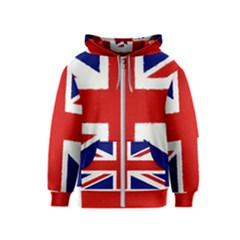 Union Jack Watercolor Drawing Art Kids  Zipper Hoodie