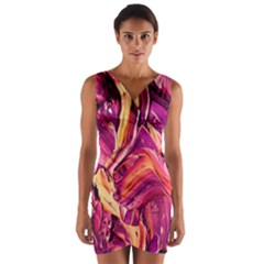 Abstract Acryl Art Wrap Front Bodycon Dress