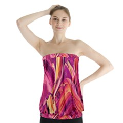 Abstract Acryl Art Strapless Top