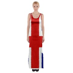 Union Jack Watercolor Drawing Art Maxi Thigh Split Dress