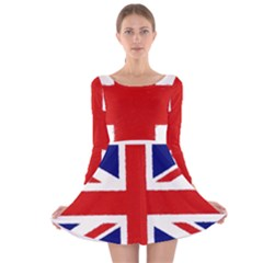 Union Jack Watercolor Drawing Art Long Sleeve Velvet Skater Dress