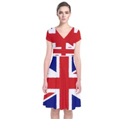 Union Jack Watercolor Drawing Art Short Sleeve Front Wrap Dress