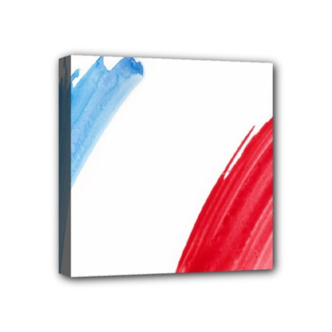 France Flag, Banner Watercolor Painting Art Mini Canvas 4  X 4