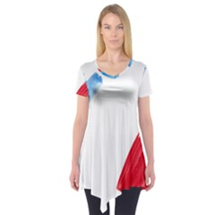France Flag, Banner Watercolor Painting Art Short Sleeve Tunic