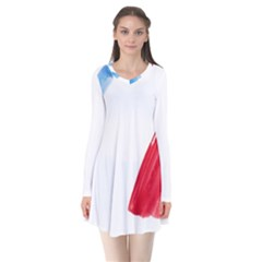 France Flag, Banner Watercolor Painting Art Flare Dress