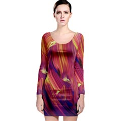 Abstract Acryl Art Long Sleeve Bodycon Dress