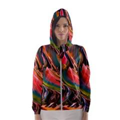 Abstract Acryl Art Hooded Wind Breaker (women)