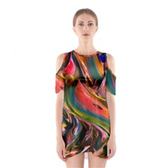 Abstract Acryl Art Shoulder Cutout One Piece