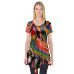 Abstract Acryl Art Short Sleeve Tunic