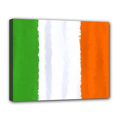 Flag Ireland, Banner Watercolor Painting Art Canvas 14  X 11