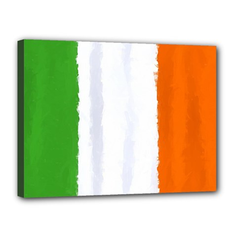 Flag Ireland, Banner Watercolor Painting Art Canvas 16  X 12