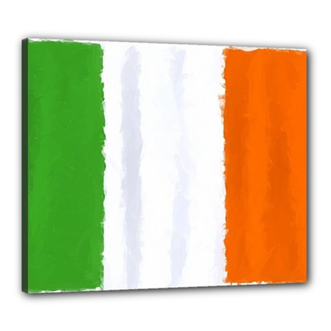 Flag Ireland, Banner Watercolor Painting Art Canvas 24  X 20