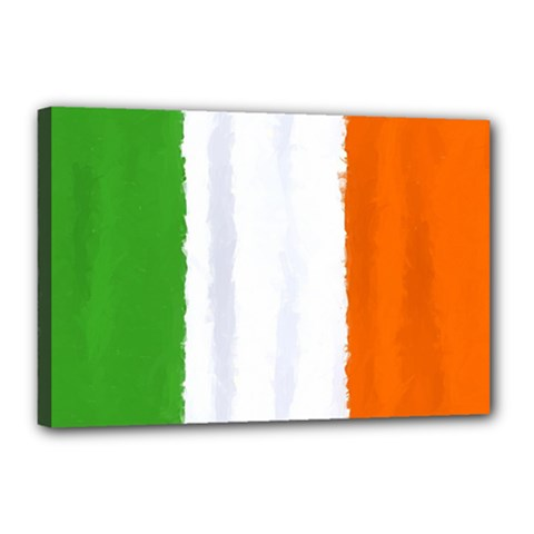 Flag Ireland, Banner Watercolor Painting Art Canvas 18  X 12