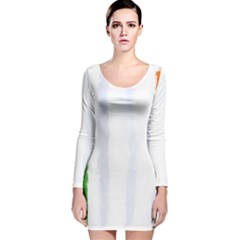 Flag Ireland, Banner Watercolor Painting Art Long Sleeve Velvet Bodycon Dress