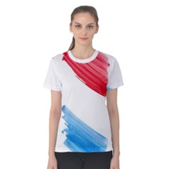 Tricolor Banner Watercolor Painting Art Women s Cotton Tee