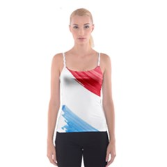 Tricolor Banner Watercolor Painting Art Spaghetti Strap Top