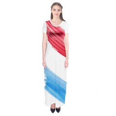 Tricolor Banner Watercolor Painting Art Short Sleeve Maxi Dress