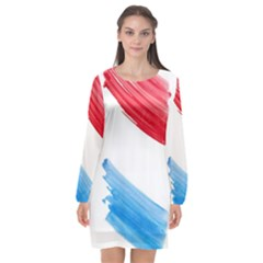Tricolor Banner Watercolor Painting Art Long Sleeve Chiffon Shift Dress