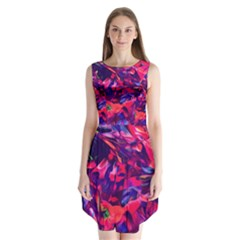 Abstract Acryl Art Sleeveless Chiffon Dress