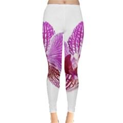 Lilac Phalaenopsis Aquarel  Watercolor Art Painting Leggings
