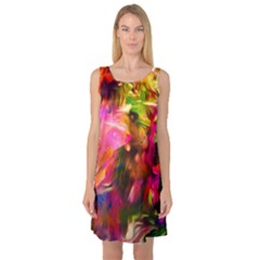 Abstract Acryl Art Sleeveless Satin Nightdress