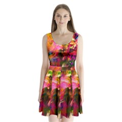 Abstract Acryl Art Split Back Mini Dress