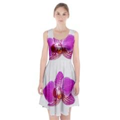 Lilac Phalaenopsis Flower, Floral Oil Painting Art Racerback Midi Dress